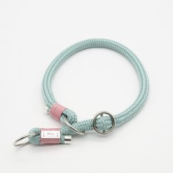 Zugstopp Halsband Elementar mintgrün mit rosa Takelage